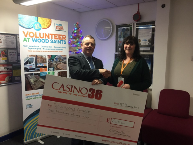 Casino 36 donates £600 to Spurgeons Children's Charity